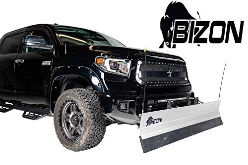 BIZON Aluminum Snow Plow (fits) 2007-2013 Chevy Silverado GMC Sierra 1500 ONLY Includes Blade, Push Bar, Blade Markers, and 2
