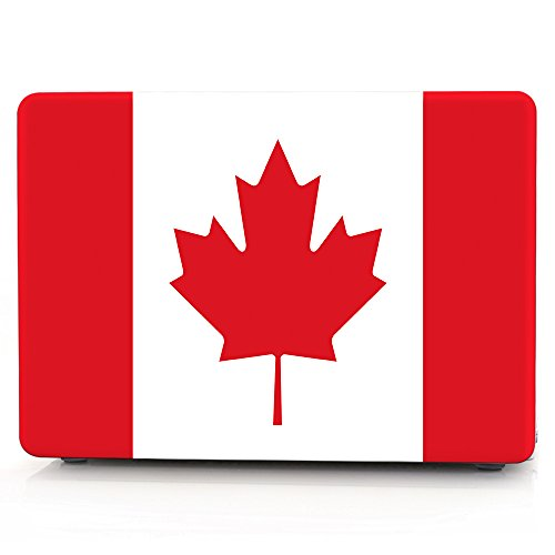 HRH Canada Maple Leaf Flag Design Laptop Body Shell Protective Hard Case for MacBook New Pro 13 inch with Touch bar A1706 A1989/ Without Touch bar A1708 A1988(2018 2017 2016 Release)