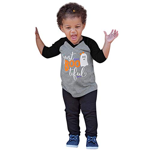 Fheaven (TM) Toddler Baby Girls Halloween Tops Long Sleeve Cartoon Devil Print T-Shirt Top Blouse (4-5 Years, Gray) ()
