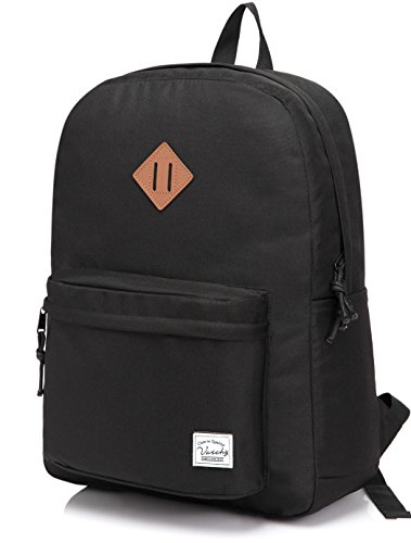 Lightweight Backpack for School, VASCHY Classic Basic Water Resistant Casual Daypack for Travel with Bottle Side Pockets (Black)