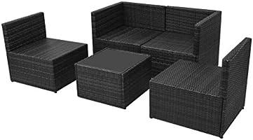 Tidyard Conjunto Muebles de Jardín de Ratán 13 Piezas con Mesa y ...