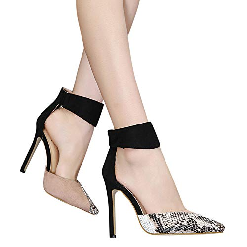 Gyoume Women Sandals,High Heel Shoes Stiletto Heels Sandals Wedding Party Sandals Dress Shoes Buckle Strap Sandals