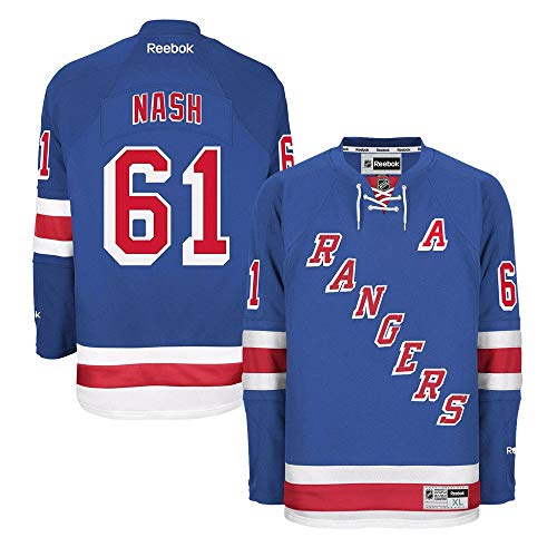 Reebok Rick Nash New York Rangers NHL Blue Official Premier Home Jersey for Men (3XL)