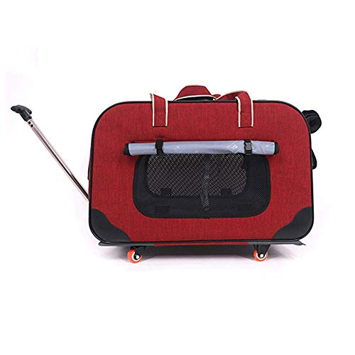 GJFeng Dog out Bag Carretilla Retráctil De Cuatro Ruedas Case Cat Pet Carretilla Transpirable Cat Dog Maleta (Color : Red)
