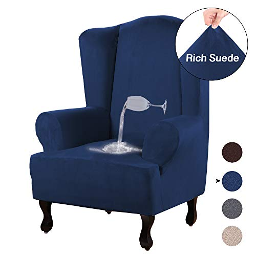 (Turquoize Stretch Wing Chair Slipcover Wingback Armchair Chair Slipcovers Sofa Covers 1-Piece Spandex Fabric Wing Back Wingback Armchair Chair Slipcovers(Wing Chair, Navy))