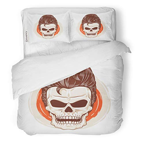 Semtomn Decor Duvet Cover Set King Size Rockabilly Pompadour Skull Head Cool Hairstyle Hair Horror Grease 3 Piece Brushed Microfiber Fabric Print Bedding Set Cover]()