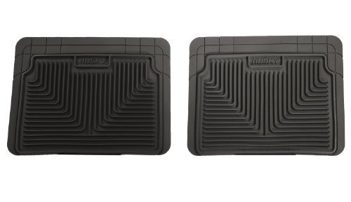 Husky Liners 52021 Semi-Custom Fit Heavy Duty Rubber Rear Floor Mat - Pack of 2, Black