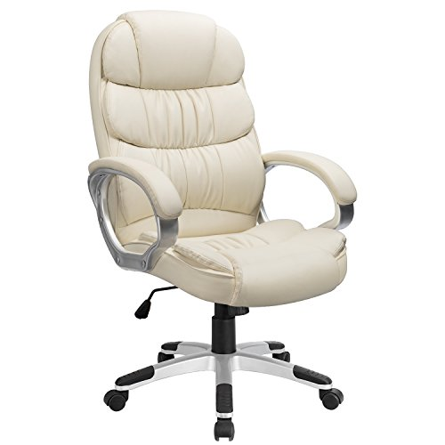 Furmax High Back Office Chair PU Leather Executive Desk chair with Padded Armrests,Adjustable Ergonomic Swivel Task Chair with Lumbar Support(Creamy-white)