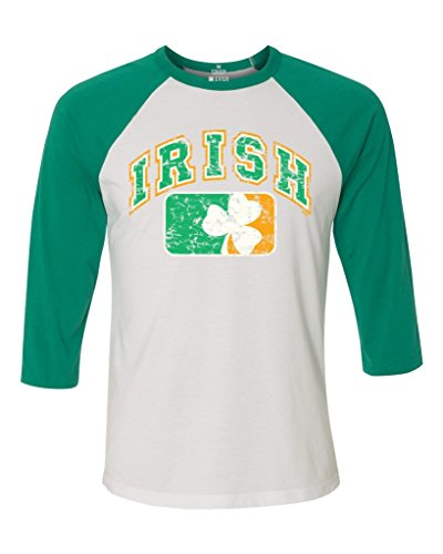 Shop4Ever Vintage Irish Flag Shamrock Baseball Shirt St. Patricks Day Raglan ShirtLarge White/Kelly6785