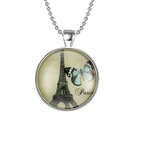Lekima Bijoux Collier Pendentif Lumineux Lumière Eiffel Tour Papillon Rond Alliage Femme Fille Cadeau