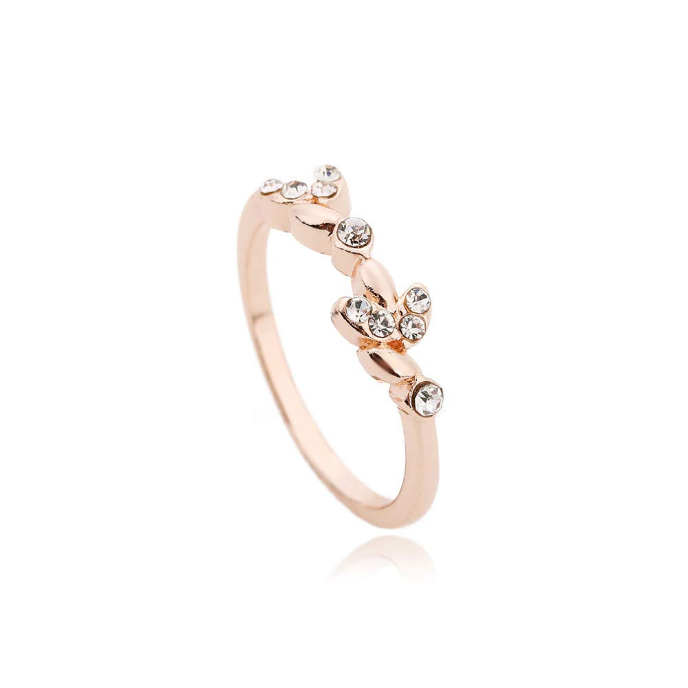 OldSch001 Clearance Flower Ring Crystal Diamond Engagement Wedding Ring for Women Girls(Rose Gold,10)
