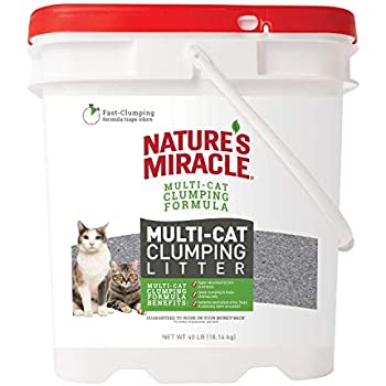 Nature's Miracle P-98140 Multi-Cat Clumping Clay Litter, 40 pounds, Pail, Fresh Linen Fragrance, Super Absorbent Fast-Clumping Formula