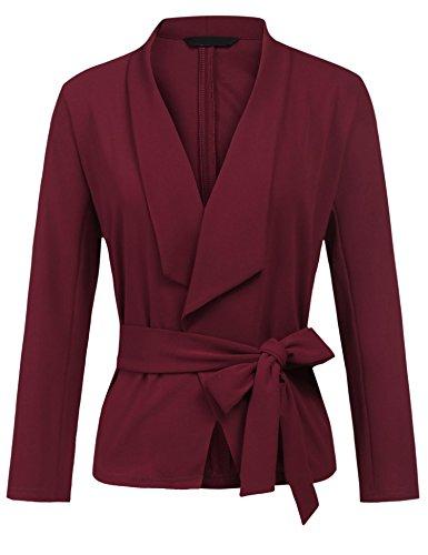 Grabsa Women's Casual Work Office Blazer Long Sleeve Open Front Cardigan Jacket Suit by Grabsa