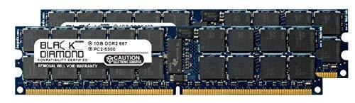 2GB 2X1GB Memory RAM for Sun SPARC Enterprise T5220 Server DDR2 ECC Registered RDIMM 240pin PC2-5300 667MHz Black Diamond Memory Module Upgrade