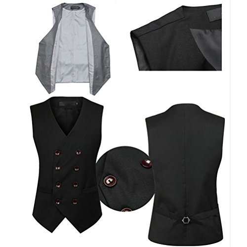 Soft Tops Moda Mens Breasted Vest Double suave Zhhlaixing Sleeveless Suit negro Blazer Formal qwfTxAOSSp