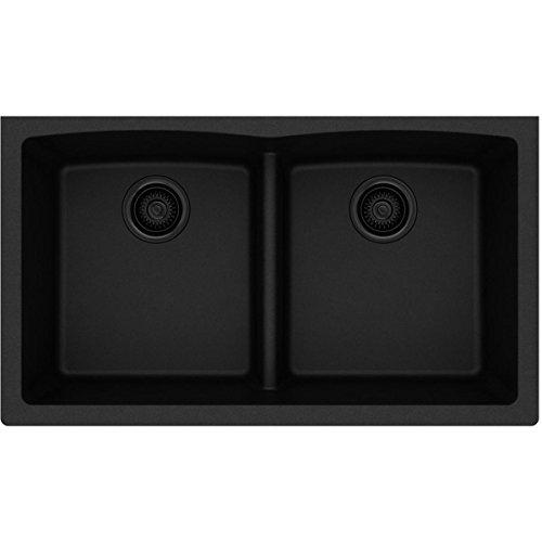 (Elkay Quartz Classic ELGDULB3322BK0 Black Equal Double Bowl Undermount Sink)