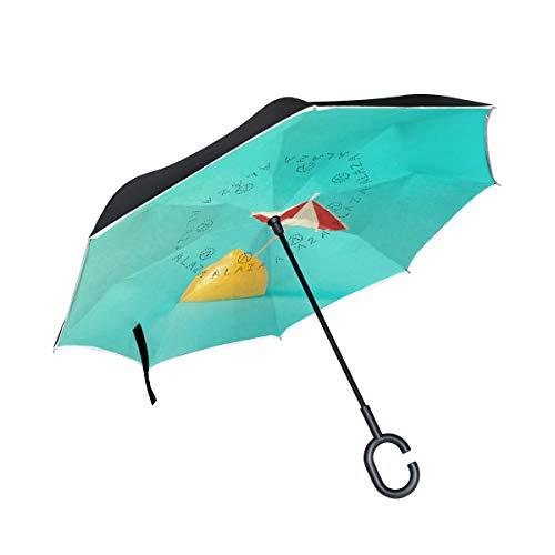Lemon with Mini Umbrella Inverted Umbrella, Large Double Layer Outdoor Rain Sun Car Travel Reversible Umbrella with C Handle for UV Protection Waterproof Windproof