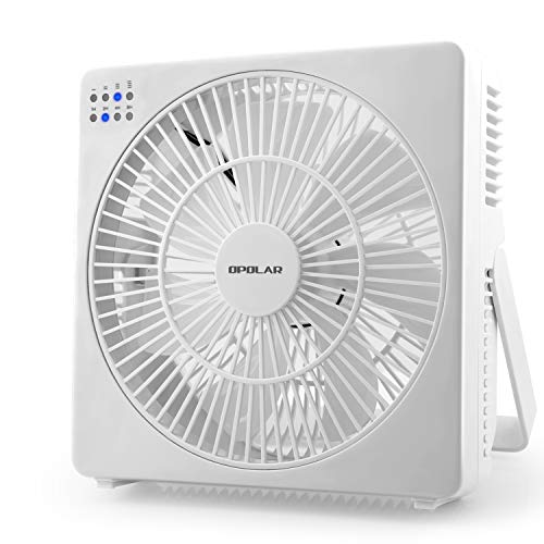 OPOLAR 8 Inch Desk Fan(Included Adapter), USB Operated, 4 Speeds+Natural Wind, Timer, Quiet Operation, Seven Blades, Adjustable Angle, Desktop Personal Cooling Fan for Office, Living Room, Bedroom