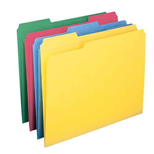 Smead File Folder, Reinforced 1/3-Cut Tab, Letter Size, Assorted Colors, 12 per Pack (11641) ()