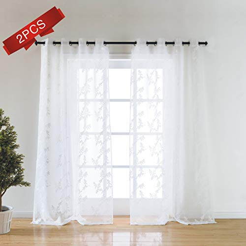 Cheap Taisier Home Floral Sheer Curtains Embroidered Leaves Semi Faux Linen Grommet Curtains for Bedroom,Machine Washable Sheer Curtains(52 95 Embroidery Sheer Drapes)