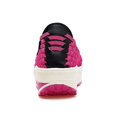 Shape Walking Slip Sneakers Platform Fitness Braid Weave On Rose Woven Shoes Women Up EnllerviiD 001 aqwP8fa
