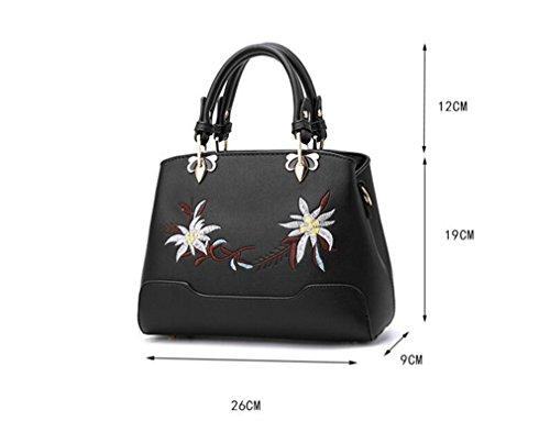 Flower Retro Zipper Bags Messenger Bag Shoulder Gardenia Women's Embroidery purple Evening Colorful Handbags Ladies Bags pqrxpX
