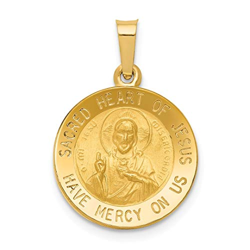 14k Yellow Gold Sacred Heart Of Jesus Medal Pendant Charm Necklace Religious Sared Fine Jewelry For Women Gift Set