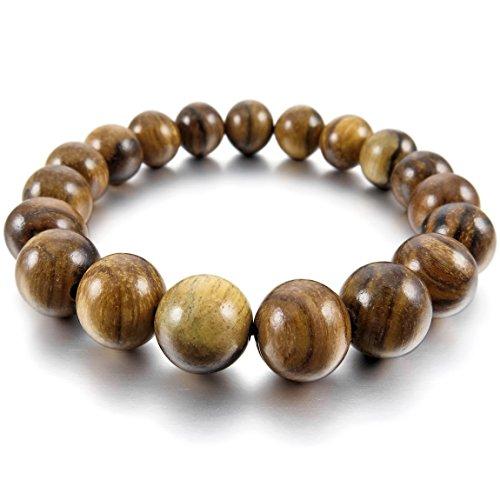 INBLUE Men,Womens 10mm Wood Bracelet Link Wrist Brown Tibetan Buddhist Black Bead Prayer Buddha Mala Elastic