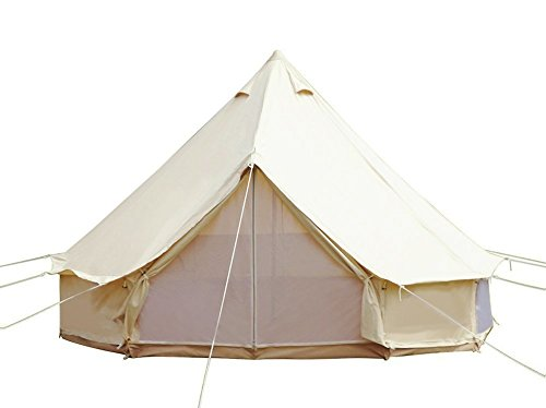 UNISTRENGH Bell Tent Luxury Outdoor Waterproof Four Season Family Camping Winter Glamping Cotton Canvas Yurt with Mosquito Screen Door and Windows (Beige, Diameter: 4M/13.1ft)
