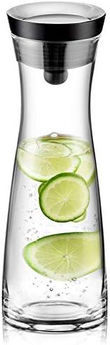 susteas Brocca per Acqua in Vetro 1,2 Litri, caraffa in borosilicato con Coperchio in Acciaio Inossidabile, brocca per Bevanda Fatta in casa