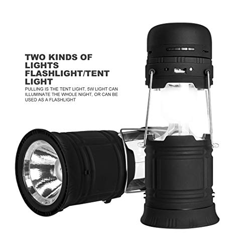 Battery Powered Camping Lanterns LED Flashlights, Solar Rechargeable Battery Powered Camping Lanterns with Bluetooth Speaker and Emergency Power Bank and FM Radio