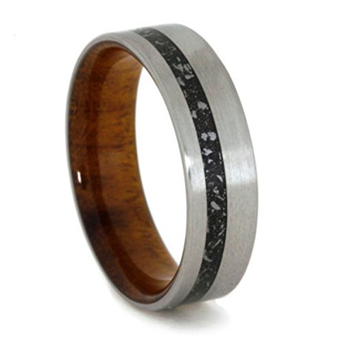 Stardust Meteorite, Ironwood Burl Sleeve 6mm Comfort-Fit Brushed Titanium Band, Size 10 by The Men's Jewelry Store (Unisex Jewelry)