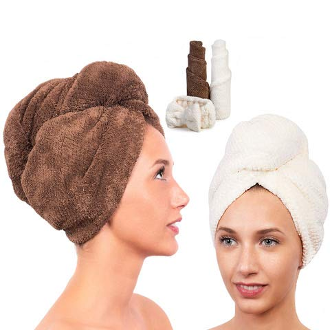 Accessory Wrap Hair (Microfiber Hair Towel for Women - Drying Twist Wrap for Curly, Long, Thin or Short Hair – Ultra Absorbent & Anti Frizz Turban for Sleeping and Showering –2 Pack PLUS Soft Headband (Ivory/Brown))