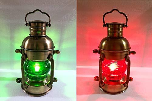 Nautical Brass Lantern Electric Red/Green Lamp Decorative Hanging Lantern Marine Ship Lamp Home Decor Set of 2