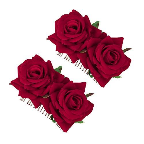 Clips de Pelo de Flor Horquillas con Rosas Accesorios de Mujeres para Boda Fiesta Bailaora de Flamenco, Pinzas de Pelo Tocado de Novia Pin de Flores Broche 2 Piezas (Rojo)