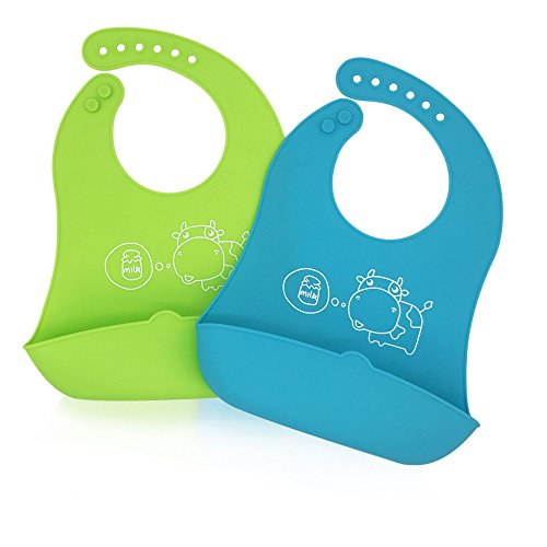 Price comparison product image Silicone Baby Feeding Bibs with Food Catcher Pocket - Unisex Waterproof Bib Set of 2 Colors Blue & Green
