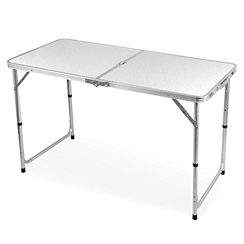 """Cheap Yaheetech Height Adjustable Folding Utility Table, 47.2 x 23.6 x 27.6"""", White"""