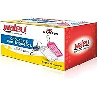 Chaveiro C/25 + 25 Etiquetas Cores Sortidas Waleu, Multicor, pacote de 25