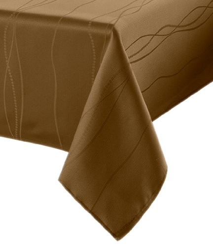 Benson Mills Gourmet Spillproof Fabric Tablecloth, Linen, 60-inch-by-102-inch