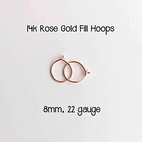 Tiny Hoop Earrings 14k Rose Gold Fill 8mm, 22 gauge. Handmade