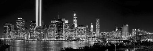 New York City NYC Skyline PHOTO PRINT UNFRAMED Tribute Lights NIGHT Lower Manhattan Downtown BW Black & White 11.75 inches x 36 inches Photographic Panorama Poster Picture Standard Size