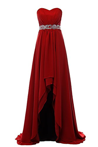 Ruiyuhong Women's High Low Country Bridesmaid Dress Party Wedding Gowns LH88 (16, Burgundy) (High Low Wedding Dresses With Cowboy Boots)