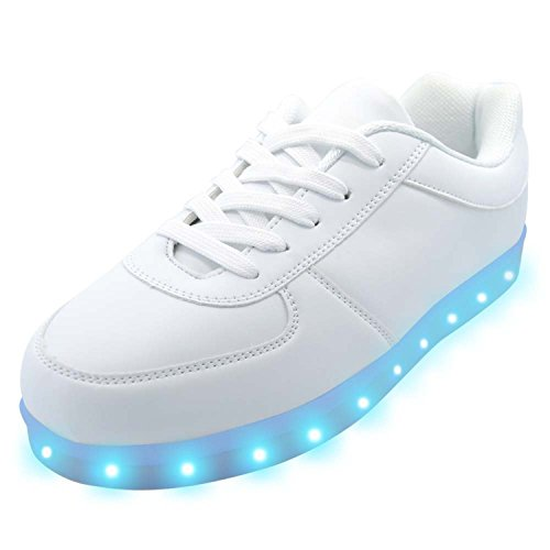 Halloween Effects Coupon (Gydstsaka 11 Lighting Effects Light Up Shoes LED Sneakers for Women Men Girls Boys Christmas Halloween Birthday Party 6 D(M) US 37 White White/ Breathable Footbed7 B(M) US Women / 6 D(M) US Men)