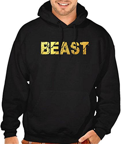Men's Gold Foil Cracked Beast Black Pullover Hoodie Sweater Small Black ()