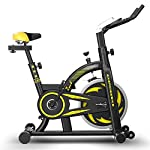 41z31 otZFL. SS150 LJMG Spin Bike Ultra-Quiet Fitness Bike Ciclismo Indoor Bicicletta da Casa Spinning, Palestra Bicicletta Sport Attrezzature per Il Fitness Cardio Trainer (Color : Yellow, Size : 115 * 51 * 110cm)