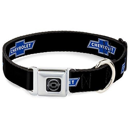 buckle-down-dc-wch001-s-9-15-cb-chevy-bowtie-black-silver-dog-collar-small