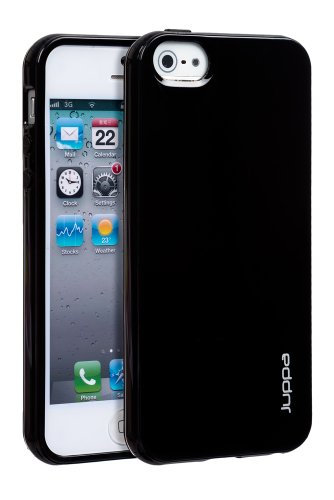 Juppa® Apple Iphone 5 TPU Silicone TPU Coque avec Film de Protection Ecran - Noir