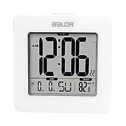 BALDR Digital Square Alarm Clock, Displays Time, Date, and Indoor Temperature, Blue Backlight (White)