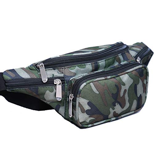 Mens Fanny Pack - Canvas Multi Pockets Travel Waist Bag for Women and Men with Adjustable Belt for Outdoors, Hiking, Climbing (Camouflage)