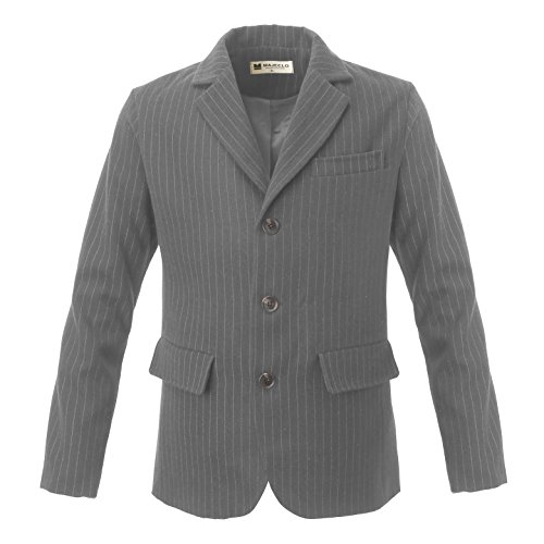 Majeclo Men's Casual Striped Slim Fit Three Button Blazer(US Large, - 3 Button Coat